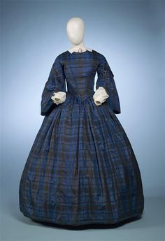 Black and blue plaid silk dress, 1855-1860 | In the Swan's Shadow