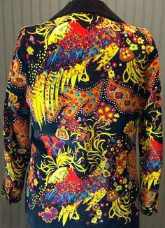 Mr Dino - Blazer - Velours Noir Imprimé Multicolore 'Paons' - Années 70