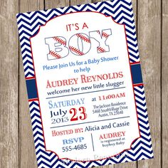 Baseball baby shower invitation, red, navy, chevron, vintage, typography, baseball, printable, digital file