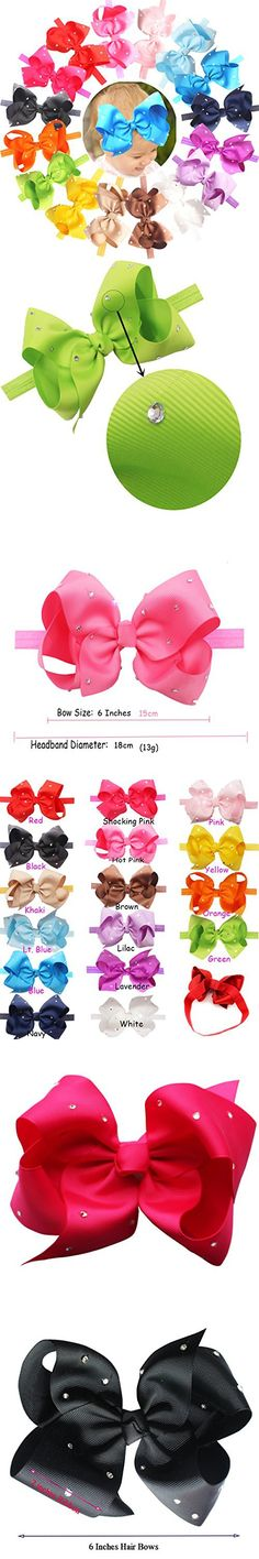 CELLOT 6 Inches Big Bows Headbands Glitter Rhinestones Boutique Hair Bow Headwear Hair Bands For Toddlers and Baby Girls Hair Accessory
