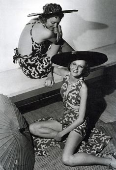1935 - Bathing Suits and Shade Hats by Jacques Heim - Photo by Horst P. Horst (German-American, 1906-1999) vintage fashion style mid 30s island tiki bathing suit sarong summer resort wear models hats parasol