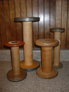 Primitive Wooden SEWING SPOOLS or BOBBINS - Lot of 4 - Must See !! | eBay