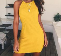 Fitted & Ribbed Casual Halter Dress #rompers #love #dresses #Fashion #DreamClosetCouture