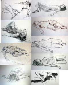 Et voilà, c'est reparti… Premier cours de modèle vivant de l'année : après avoir fait quelques croquis pour s'échauffer, un grand dessin d'une belle pose couchée, réalisé en 1h30.