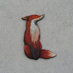 Fox Brooch Woodland Fox Illustration Wood by LaurasJewellery
