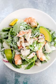 GREENS + SHRIMP + AVOCADO + CRAB + DRESSING.