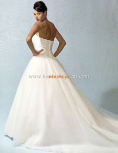 Vintage Style Strapless Ball Gown Applique White Organza Wed...