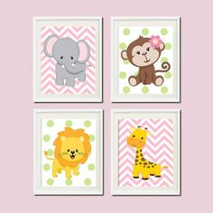 JUNGLE Nursery Wall Art ELEPHANT Monkey Giraffe Lion Set of 4 Prints Zoo SAFARI Animals Baby Girl Decor Wall Art Jungle Decor Bedding Picture -