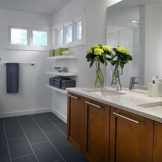 MAIN BATHROOM:  rectangular bricklay slate floor tiles