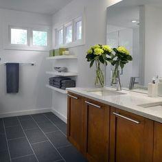 MAIN BATHROOM:  rectangular bricklay slate floor tiles