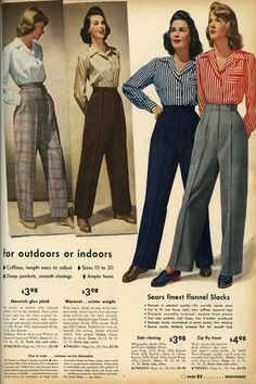 Classy Women's 1940s day to day pants with wide legs