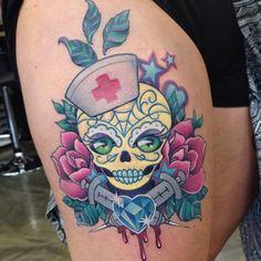 sugar skull nurse tattoo - Google Search