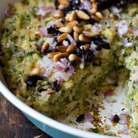 Spinach Rice Gratin Recipe by 101 Cookbooks will sub cauliflower for the tofu.