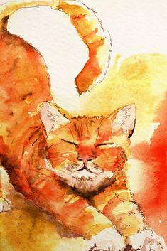 Orange Cat Stretching ~*~ Jen Russell-Smith [aka Timballoo - Adventures in illustration. Art Watercolor, Watercolor Animals, Illustration Art Nouveau, Friday Illustration, Cat Illustrations, Cat Stretching, Photo Chat, Orange Cats, Cat Drawing
