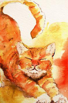 Stretch... watercolour cat