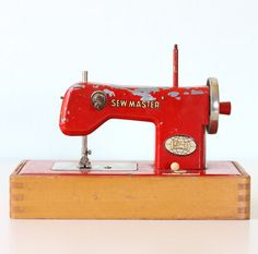 Vintage Red Sewmaster Sewing Machine by bellalulu on Etsy, $62.00