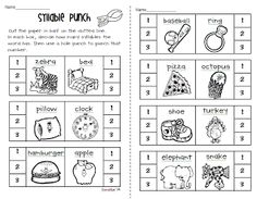 Syllable Count hole-punch activity - 1st grade level