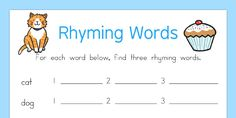 Grade - Pre-K - Year 6 , Subject - English Language Arts - Rhyming Words Worksheet - This handy worksheet gives your children the opportunity to practise their rhyming skills by coming up with three other words that rhyme with the one given. Rhyming Worksheet, Verb Worksheets, Animal Poems, Word Cat, Rhyming Words, English Language Arts, More Words, Good Company, Kids Learning