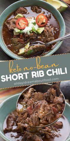 Short Recipes, Easy Healthy Recipes, Keto Recipes, Recipes Dinner, Healthy Meals, Low Carb Chili Recipe, Short Ribs Chili Recipe, Stew Meat Recipes, Chili Recipes