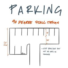 A 90 degree stall design is the most efficient use of parking space. Architecture Drawings, Architecture Design, Site Plan Design, Parking Design, Garage Design, Environmental Design, Study Materials, Urban Planning, Urban Design
