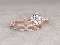 2pc Moissanite Bridal Set,Engagement ring Rose gold,Diamond wedding band,14k,6.5mm Round Cut,Gemstone Promise Ring,Pave Set,Loop eternity by popRing on popRing