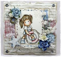 Tilda card by LLC DT Member Diana DeeDee Adamski. Papers from Maja Design's Life by the Sea collection.