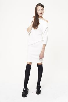 White crepe wool asymmetric three quarter sleeves dress