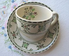Johnson Bros Old Granite cup and saucer in green hand engraved Provence pattern at VolvoxVintageShop on Etsy. SOLD!
