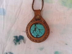 Leather Necklace with Turquoise Gemstone Round by ForGoodPeople