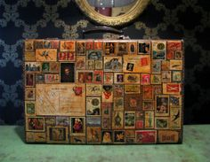 Around the World in 80 Stamps Vintage Suitcase with Real stamps!