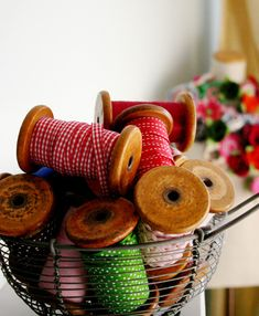 ribbon on lovely wooden spools....