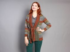 Vintage 70s Belted CARDIGAN SWEATER / Earth Tone Cardi