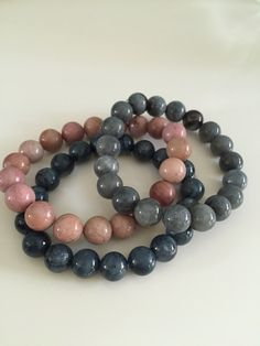 bracelets, beads 10mm, marble, agate, quartz.