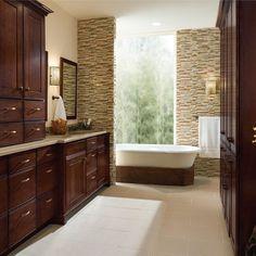 Kraftmaid - Garrison Cherry Bath Cabinets traditional bathroom vanities and sink consoles Bathroom Wall Cabinets, Bathroom Cabinets, Bathroom Furniture, Bathroom Storage, Bathroom Vanities, Bath Design, Tile Design, Modern Bathroom, Master Bathroom