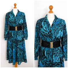 1980 80s Teal Animal Print Secretary Dress  by SkinnedKneesVintage