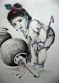 Baby Krishna :) - Sketching by Richa Sinha at touchtalent 26761 Radha Krishna Sketch, Krishna Drawing, Bal Krishna, Krishna Painting, Krishna Radha, Lord Krishna Images, Radha Krishna Images, Krishna Pictures, Krishna Photos