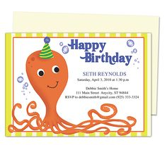 Kids Party : Octopus Kids Birthday Party Invitation Template