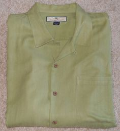 TOMMY BAHAMA Shirt Silk Green Chartreuse Large Short Sleeves #TommyBahama #ButtonFront