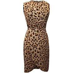 Brown Leopard Print Sleeveless Tulip Wrap Dress ($25) ❤ liked on Polyvore featuring dresses, brown, brown wrap dress, sleeveless jersey, brown jersey, high low dresses and hi low dress