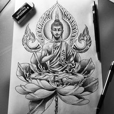 Proximo - Proximo You are in the right place about Proximo Tattoo Design And Style Galleries On The Net – Ar - Leg Tattoos, Sleeve Tattoos, Body Art Tattoos, Tattoo Drawings, Tattoo Ink, Buda Tattoo, Buddha Tattoo Design, Buddha Lotus Tattoo, Chakra Tattoo
