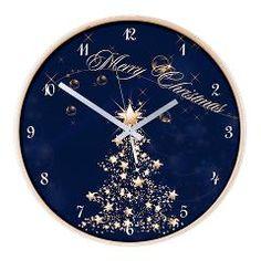 Blue Golden #Christmas Wooden Wall #Clock