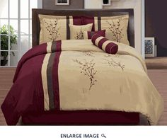 7 Piece Queen Burgundy and Tan Floral Embroidered Comforter Set