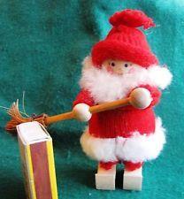 Vintage Swedish Wood Christmas Doll Elf Gnome Santa Skiing Ski's Tomte Sweden