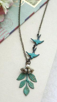 Verdigris Teal GreenTeal Blue Birds Green Leaf Sprig