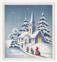Vintage Greeting Card Christmas Eve WInter Scene People Going To Church