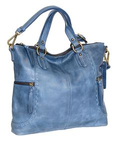Look at this #zulilyfind! Nino Bossi Handbags Washed Blue Jack & Diane Leather Tote by Nino Bossi Handbags #zulilyfinds
