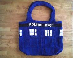 TARDIS Tote  Doctor Who by TheKnittingPirate on Etsy, $50.00