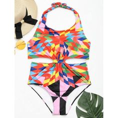 #RoseWholesale - #Rosewholesale One Piece Colorful Geometric Print Swimsuit - AdoreWe.com