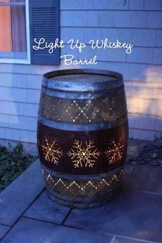 DIY Ideas With Old Barrels - Light Up Whiskey Barrel - Rustic Farmhouse Decor Tutorials and Projects Made With a Barrel - Easy Vintage Home Decor for Kitchen, Living Room and Bathroom - Creative Country Crafts, Dog Beds, Seating, Furniture, Patio Decor and Rustic Wall Art and Accessories to Make and Sell tp://diyjoy.com/diy-projects-old-barrels #woodworkingdesign