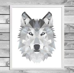 Printable A4 Art Poster Print Black White Grey Wolf by DesignClaud